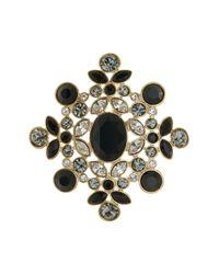 Givenchy - Metallic Bezel Mixed Rhinestone Floral Pin - Lyst