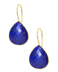 Saachi - Blue 18k Gold Plated Faceted Lapis Lazuli Drop Earrings - Lyst