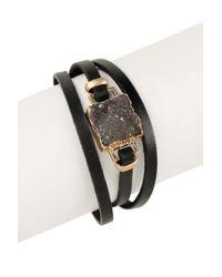Saachi | Black Square Faux Druzy Genuine Leather Bracelet | Lyst