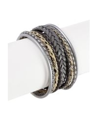 Saachi | Gray Braided Multi Cord Grey Genuine Leather Bracelet | Lyst