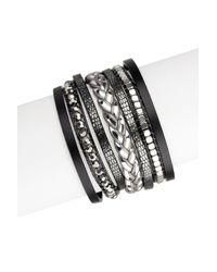 Saachi | Black Beaded Multi Strand Genuine Leather Bracelet | Lyst