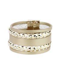 Saachi - Metallic Jasmine Reversible Genuine Leather Bracelet - Lyst