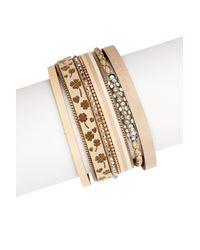 Saachi - Metallic Bloom Taupe Genuine Leather Strand Bracelet - Lyst