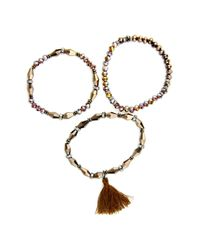 Saachi - Brown Nisha Beaded Stretch Bracelet - Set Of 3 - Lyst