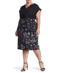 Philosophy Apparel - Black Ponte Midi Pencil Skirt (plus Size) - Lyst