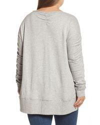 Caslon - Gray Scrunch Sleeve Sweatshirt (plus Size) - Lyst