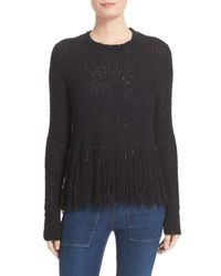 A.L.C. | Black Andreas Fringe Silk Blend Sweater | Lyst