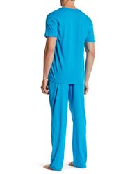 Papi - Blue Henley Tee & Pant Loungewear Set for Men - Lyst