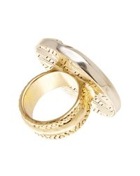 House of Harlow 1960 - Metallic Engraved Round Statement Ring - Size 7 - Lyst