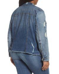 Kut From The Kloth - Blue Distressed Denim Jacket - Lyst