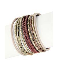 Saachi - Multicolor Braided Multi-cord Genuine Leather Bracelet - Lyst