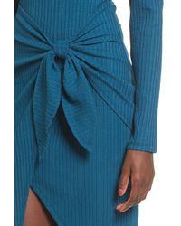 Lush - Blue Tie Waist Cold Shoulder Dress - Lyst