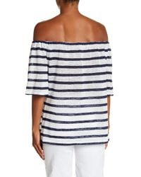BCBGeneration - Blue Striped Off-the-shoulder Trapeze Tee - Lyst