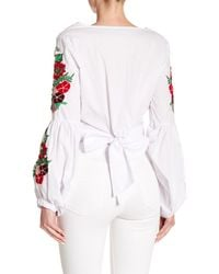 Haute Rogue - White Embroidered Bishop Sleeve Tie Back Crop Top - Lyst