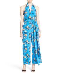 Diane von Furstenberg - Blue Halter Floral Suit Jumpsuit - Lyst
