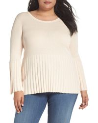 Sejour - Natural Ribbed Cotton Blend Sweater (plus Size) - Lyst