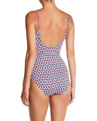 Tommy Bahama Red Geo Print Scoop Back One-piece Swimsuit