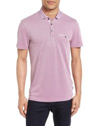 Ted Baker | Purple Woven Collar Polo for Men | Lyst