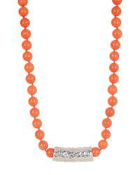 Simon Sebbag - Orange Beaded Jade Hammered Charm Necklace - Lyst