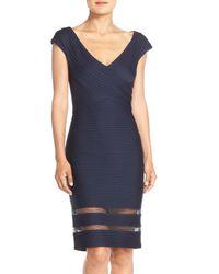 Tadashi Shoji | Blue Mixed Media Sheath Dress | Lyst