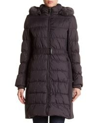 Via Spiga - Gray Dyed Genuine Rabbit Fur Hooded Ruched Puffer Coat - Lyst