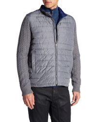 Zachary Prell - Gray Beacon Trim Fit Quilted Cable Knit Zip Sweater for Men - Lyst