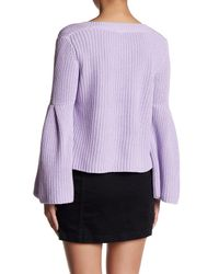 Free People - Purple Damsel Cable Knit Pullover - Lyst