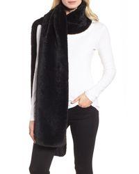 Donni Charm - Black Faux Fur Long Scarf - Lyst