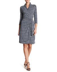 Karen Kane Multicolor Diamond Stripe Print Cascade Wrap Dress