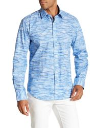 Bugatchi - Blue Point Collar Front Button Shaped Fit Woven Shirt for Men - Lyst