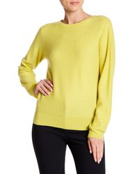 Vince - Yellow Cashmere Crew Neck Sweater - Lyst
