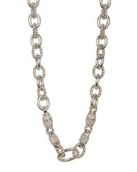Judith Ripka - Metallic Sterling Silver Amethyst Cz Accented Link Necklace - Lyst