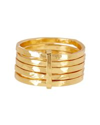 Argento Vivo - Metallic 18k Gold Plated Sterling Silver 5 Layer Ring - Size 8 - Lyst