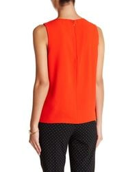 Cece by Cynthia Steffe - Red Scalloped Front Sleeveless Blouse - Lyst
