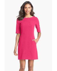 Tahari - Pink Seamed A-line Dress (petite) - Lyst