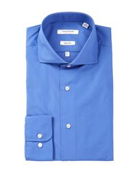 Isaac Mizrahi New York | Blue Solid Oxford Slim Fit Dress Shirt for Men | Lyst