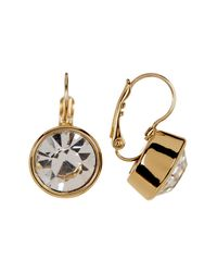 Kate Spade - Metallic 12k Gold Plated Round Crystal Drop Earrings - Lyst