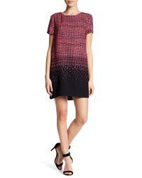 Cece by Cynthia Steffe | Black Kayte Short Sleeve Printed Shift Dress (petite) | Lyst