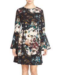 Eci Black Floral Print Fit & Flare Dress