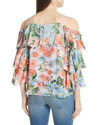 Alice + Olivia - Multicolor Marylee Floral Off-the-shoulder Blouse - Lyst
