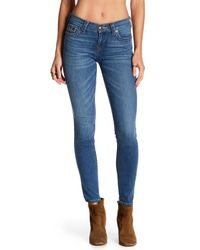 True Religion - Blue Halle Mid Rise Skinny Jeans - Lyst