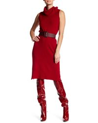 Philosophy Apparel - Red Sleeveless Cashmere Cowl Neck Midi Dress - Lyst