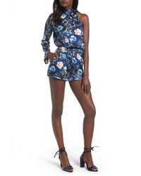 Mimi Chica - Blue Tie Neck One-sleeve Romper - Lyst