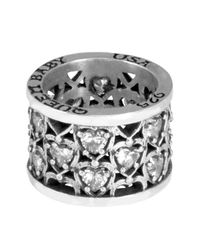 King Baby Studio - White Sterling Silver Cz Heart Patterned Ring - Lyst