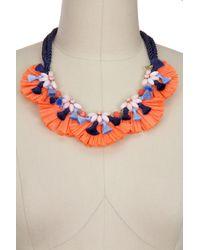 Saachi - Orange Fiesta Mother Of Pearl Beaded Raffia Tassel Statement Necklace - Lyst