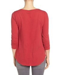 Lucky Brand - Red Peacock Rug Print Tee - Lyst