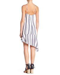 Lush - White Stripe Asymmetrical Hem Dress - Lyst