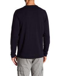 Quinn - Blue Mixed Media Long Sleeve Crew Neck Sweater for Men - Lyst