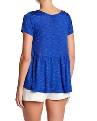Bobeau - Blue Slub Spacedye Babydoll Knit Shirt (petite) - Lyst