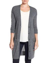 Halogen - Gray Rib Knit Wool Blend Cardigan (regular & Petite) - Lyst